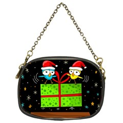 Cute Christmas Birds Chain Purses (one Side)  by Valentinaart