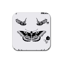 Harry Styles Tattoos Rubber Square Coaster (4 Pack)  by Onesevenart