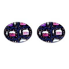 Magical Xmas Night Cufflinks (oval) by Valentinaart
