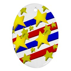 Flag Ransparent Cartoon American Ornament (oval)  by Onesevenart