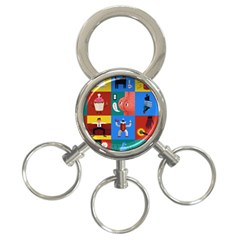 The Oxford Dictionary Illustrated 3-Ring Key Chains by Onesevenart