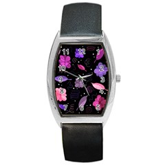 Purple And Pink Flowers  Barrel Style Metal Watch by Valentinaart
