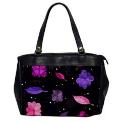 Purple And Pink Flowers  Office Handbags by Valentinaart