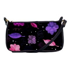 Purple And Pink Flowers  Shoulder Clutch Bags by Valentinaart