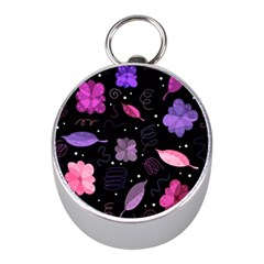 Purple and pink flowers  Mini Silver Compasses by Valentinaart