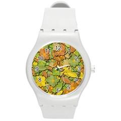 Autumn Flowers Round Plastic Sport Watch (m) by Valentinaart