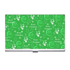 Santa Christmas Collage Green Background Business Card Holders by Onesevenart