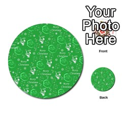 Santa Christmas Collage Green Background Multi Purpose Cards (round)  by Onesevenart