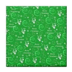 Santa Christmas Collage Green Background Face Towel by Onesevenart