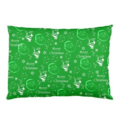 Santa Christmas Collage Green Background Pillow Case by Onesevenart