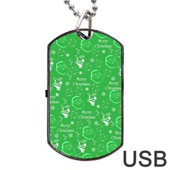 Santa Christmas Collage Green Background Dog Tag Usb Flash (two Sides)  by Onesevenart