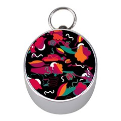 Colorful Abstract Art  Mini Silver Compasses by Valentinaart
