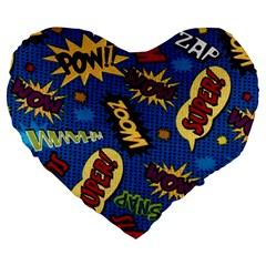 Fabric Comic Words Large 19  Premium Heart Shape Cushions by Onesevenart