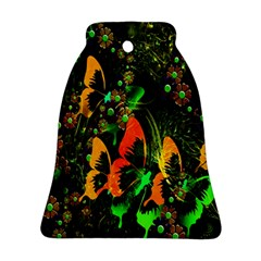 Butterfly Abstract Flowers Bell Ornament (2 Sides) by Zeze
