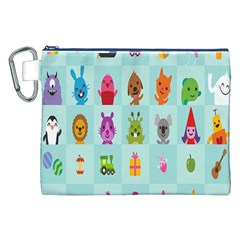 Animals Monster Music Canvas Cosmetic Bag (xxl) by AnjaniArt