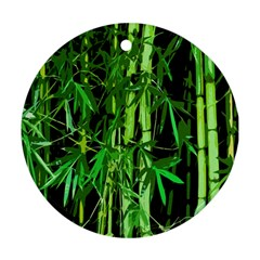 Bamboo Pattern Tree Round Ornament (two Sides)  by AnjaniArt