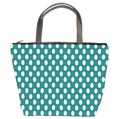 Circular Pattern Blue White Bucket Bags by AnjaniArt