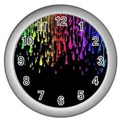 Color Rainbow Wall Clocks (silver)  by AnjaniArt