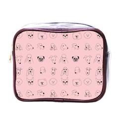 Dog Pink Mini Toiletries Bags by AnjaniArt