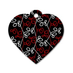 Elegant Red And White Pattern Dog Tag Heart (one Side) by Valentinaart