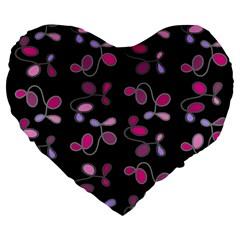 Magenta Garden Large 19  Premium Flano Heart Shape Cushions by Valentinaart