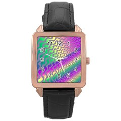 Line Colour Wiggles Rose Gold Leather Watch  by AnjaniArt