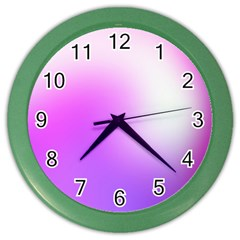 Purple White Background Bright Spots Color Wall Clocks by AnjaniArt