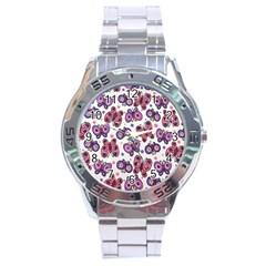 Pink Purple Butterfly Stainless Steel Analogue Watch by AnjaniArt