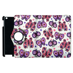 Pink Purple Butterfly Apple Ipad 3/4 Flip 360 Case by AnjaniArt