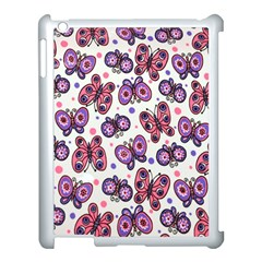 Pink Purple Butterfly Apple Ipad 3/4 Case (white) by AnjaniArt