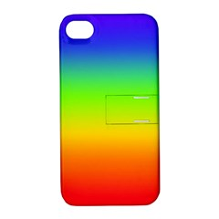 Rainbow Blue Green Pink Orange Apple Iphone 4/4s Hardshell Case With Stand by AnjaniArt