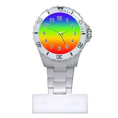 Rainbow Blue Green Pink Orange Plastic Nurses Watch by AnjaniArt