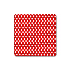 Red Circular Pattern Square Magnet by AnjaniArt