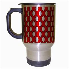Red Circular Pattern Travel Mug (Silver Gray) by AnjaniArt