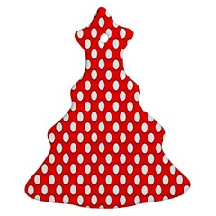 Red Circular Pattern Christmas Tree Ornament (2 Sides) by AnjaniArt