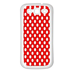 Red Circular Pattern Samsung Galaxy S3 Back Case (white) by AnjaniArt
