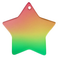 The Walls Pink Green Yellow Star Ornament (two Sides)  by AnjaniArt