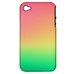 The Walls Pink Green Yellow Apple Iphone 4/4s Hardshell Case (pc+silicone) by AnjaniArt