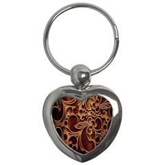 Tekstura Twigs Chocolate Color Key Chains (heart)  by AnjaniArt