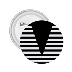 Black & White Stripes Big Triangle 2 25  Buttons by EDDArt