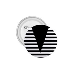 Black & White Stripes Big Triangle 1 75  Buttons by EDDArt