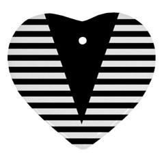 Black & White Stripes Big Triangle Ornament (heart)  by EDDArt