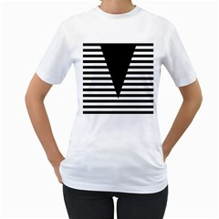 Black & White Stripes Big Triangle Women s T Shirt (white) (two Sided) by EDDArt