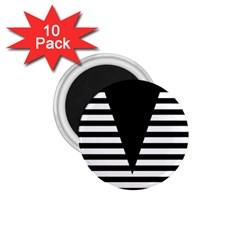 Black & White Stripes Big Triangle 1 75  Magnets (10 Pack)  by EDDArt