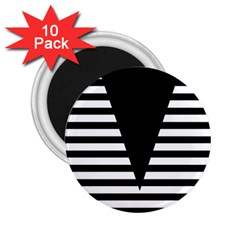 Black & White Stripes Big Triangle 2 25  Magnets (10 Pack)  by EDDArt