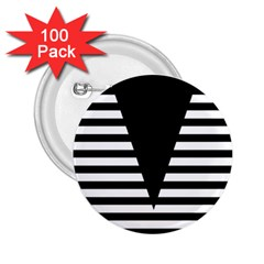 Black & White Stripes Big Triangle 2 25  Buttons (100 Pack)  by EDDArt