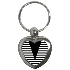Black & White Stripes Big Triangle Key Chains (heart)  by EDDArt