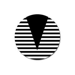 Black & White Stripes Big Triangle Magnet 3  (round) by EDDArt