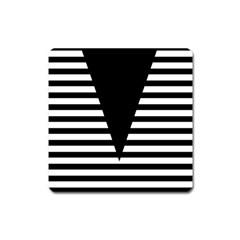 Black & White Stripes Big Triangle Square Magnet by EDDArt