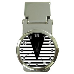Black & White Stripes Big Triangle Money Clip Watches by EDDArt